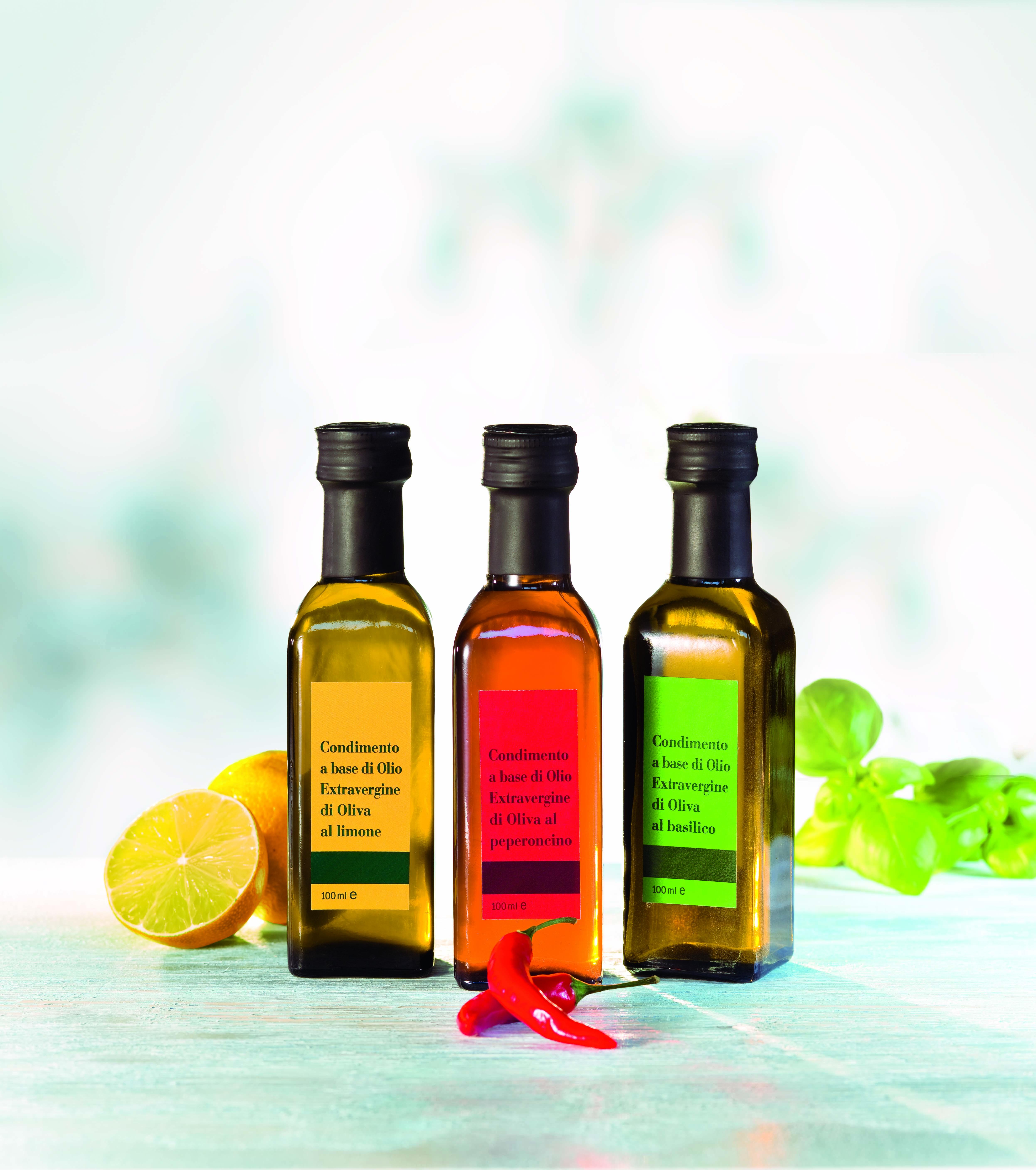 Olivoljor med tre olika smaker