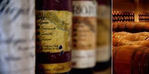 Gamla flaskor och fatkällare vid Rioja Vega