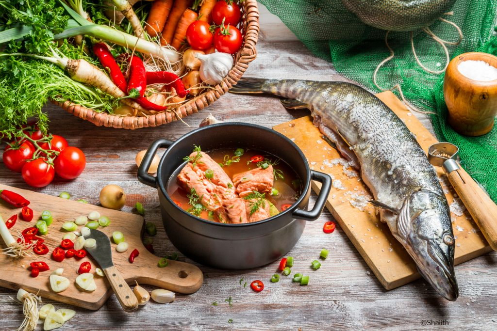 Fresh ingredients for fish soup.