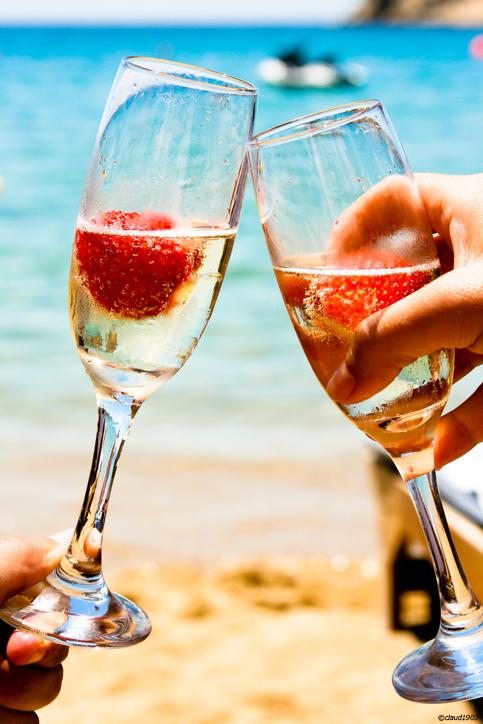 Champagne på stranden