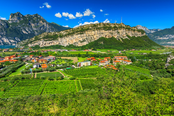 Stunning panorama of Torbole town and gardens,Northern Italy,Europe