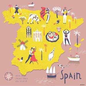 karta av Spanien