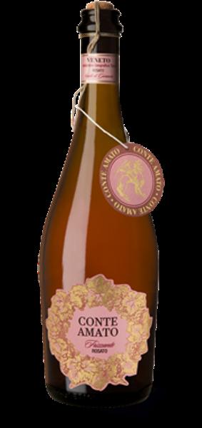 En flaska mousserande rosé med rosa och guldig etikett
