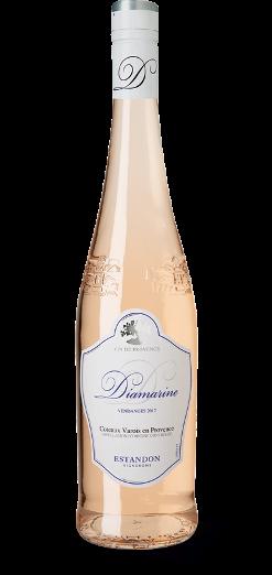 En lång flaska ljust rosé med vit etikett